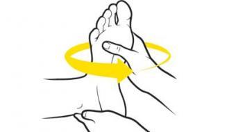 اول: یک بالش نرم روی زانوی خود بگذارید و روی آن را با یک حوله سفید بپوشانید. پای چپ او را بر روی بالش قرار دهید. با دست چپ پاشنه پا را به آرامی بگیرید و با دست راست سرپنجه پایش را سه بار در مسیر عقربه ساعت و بعد برعکس بچرخانید. همین کار را برای پای چپ وی نیز تکرار کنید.