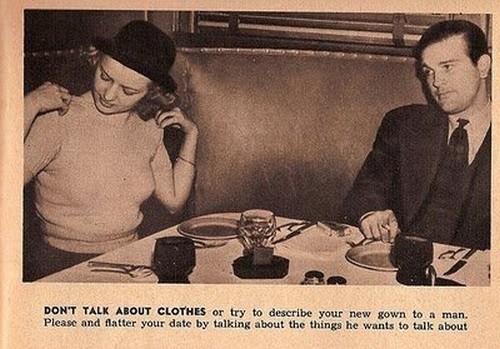 در باره لباس خودت یا سایز لباس هایی که می پوشی در حین قرار ملاقات با یک مرد را حذف کن.