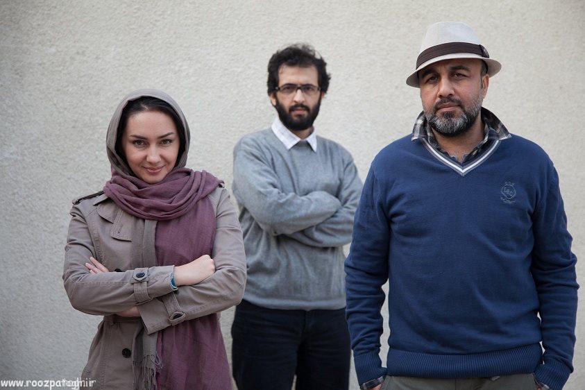 رضا عطاران٬ هانیه توسلی و کارگردان فیلم «دهلیز» بهروز شعیبی