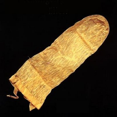 The antique, found in Lund in Sweden, is made of pig intestine and was one of 250 ancient objects related to sex on display at the Tirolean County Museum in Austria in 2006.