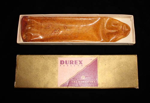 This reusable condom dates from the 1950s. Condom manufacturing was revolutionised by the invention of rubber vulcanisation by Charles Goodyear