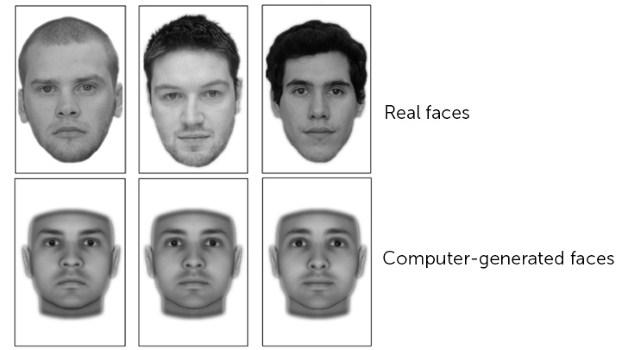 سه تصویر صورت از چپ به راست درجه اعتماد پذیری کم و متوسط و زیاد را نشان می دهد