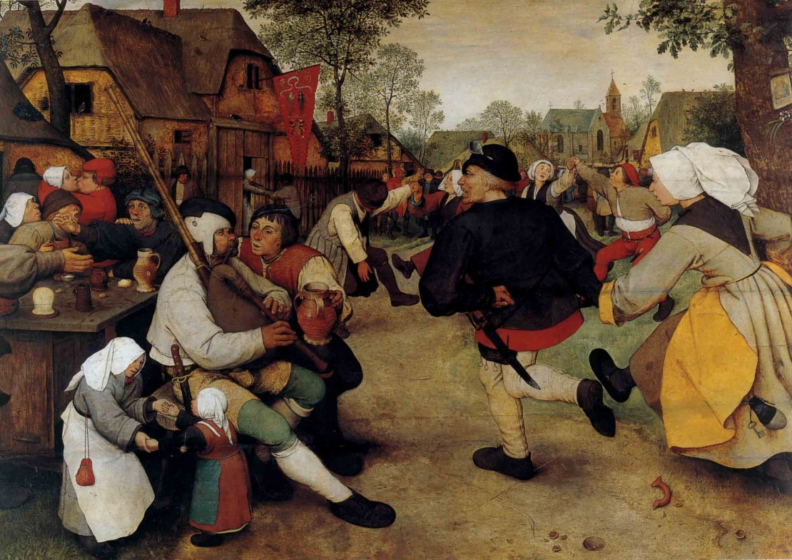 1568- Pieter Bruegel-  The Peasant Dance on wood