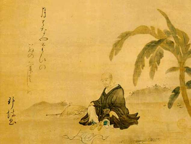 Bashō under the banana tree after which he is named, and which stood by his small hut