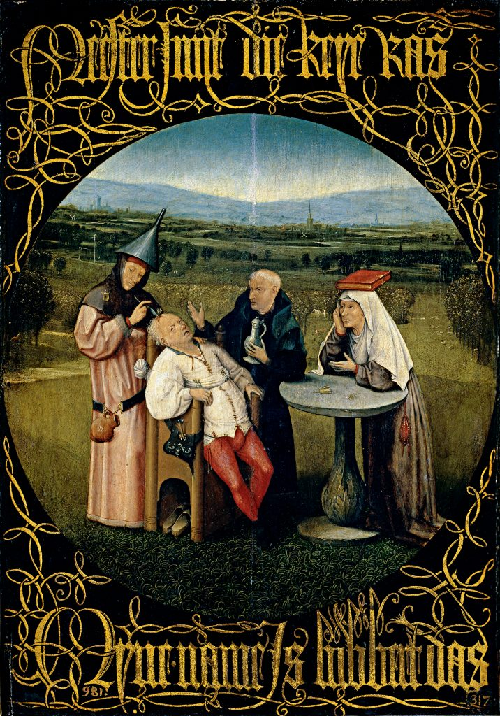 The Cure of Folly  The Extraction of the Stone of Folly, which dates from c. 1494