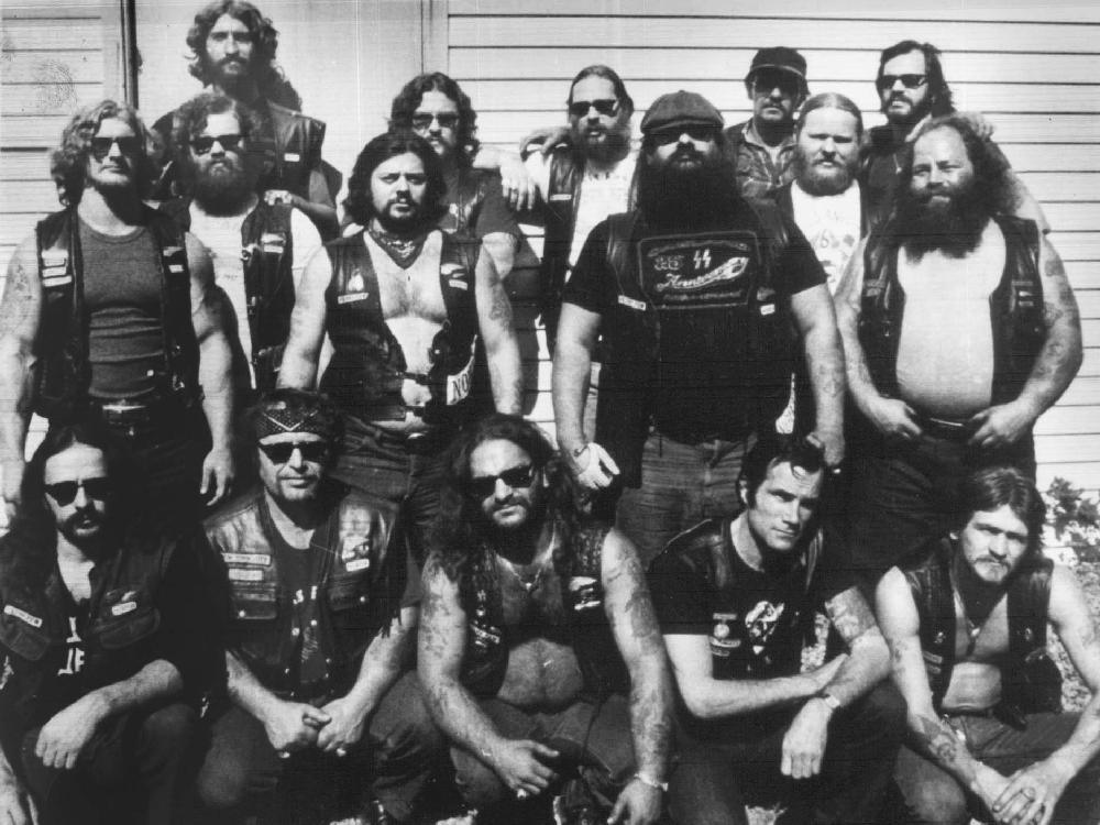 THE LAVAL CHAPTER: FIVE OF ITS MEMBERS WERE KILLED BY QUEBEC HELL'S ANGELS IN  THE LENNOXVILLE PURGE IN 1985. IN THE SECOND ROW, WEARING THE CAP, IS ROBERT (TINY) RICHARD WHO IS BELIEVED TO BE THE NATIONAL LEADER OF THE CANADIAN  HELL'S ANGELS.