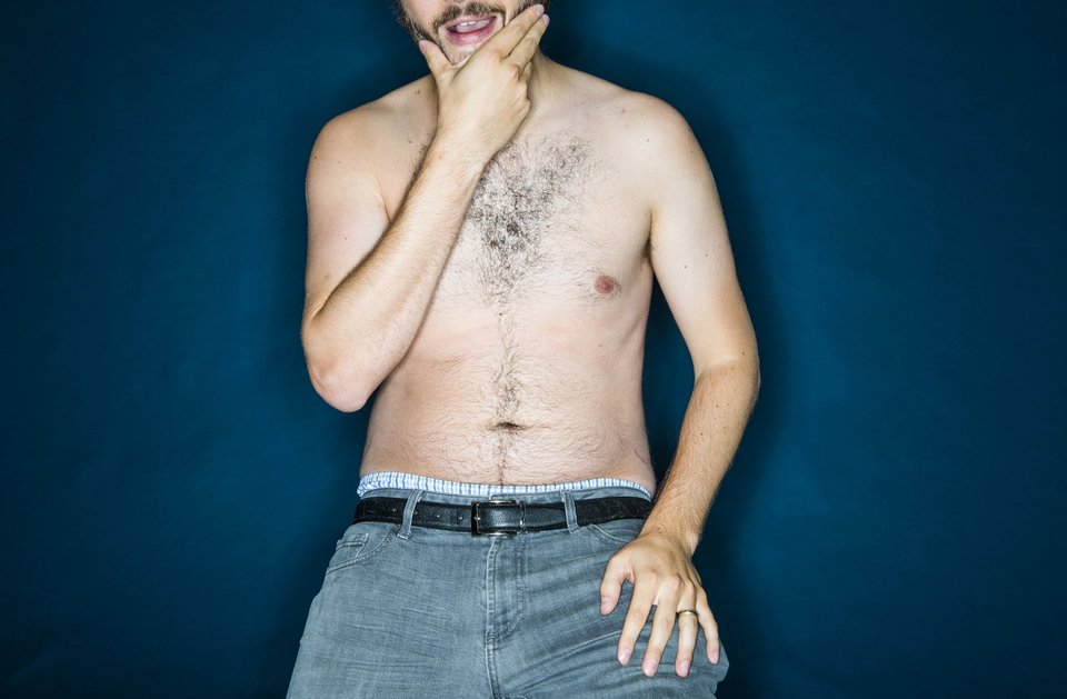NEW YORK, NY - AUGUST 5: Various men take part in a photo shoot aimed at showing that men can suffer from body image issues in New York on Wednesday August 5, 2015. (Photo by Damon Dahlen, Huffington Post)