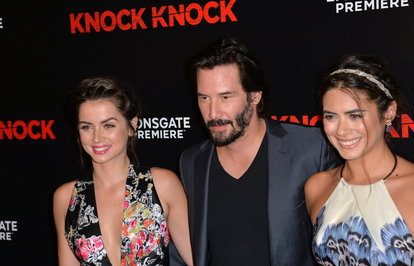 Keanu Reeves, Ana de Armas and Lorenza Izzo at the Premiere Of Lionsgate's 'Knock Knock' held at TCL Chinese Theatre in Hollywood