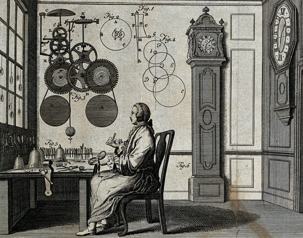 clocks_a_watch-maker_seated_at_his_workbench_with_a_long-ca_wellcome_v0023855
